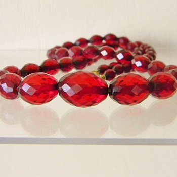 "Art Deco Cherry Bakelite Faceted Amber Bead Necklace 24"" - Costume Jewelry"