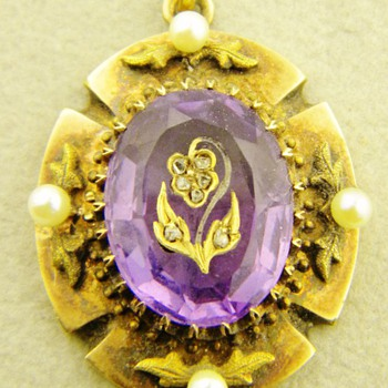 Antique Victorian Amethyst Rose Diamond Mourning 15k Pendant Lavaliere - Fine Jewelry