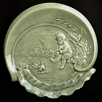 french art nouveau majolica ashtray by BINET