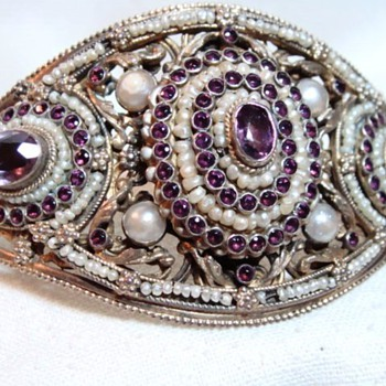 Antique Austro-Hungarian Amethyst and Pearl Cuff