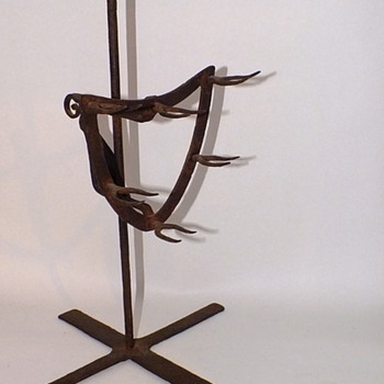 18TH c. WROUGHT IRON HEARTH GAME BIRD ROASTING SPIT
