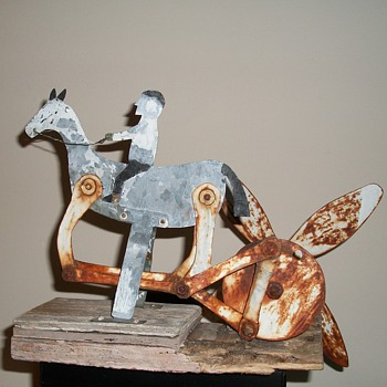 Antique Folk Art Horse and Rider Whirligig Folk Art Jim Linderman