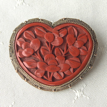 Vintage Chinese Silvered Filigree Cinnabar Heart Brooch  - Asian