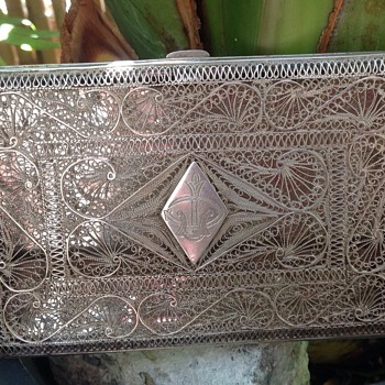 Solid Silver Filigree Cigarette Case