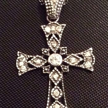 Antique silver and diamond cross