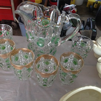 Unknown glass pitcher set - Glassware
