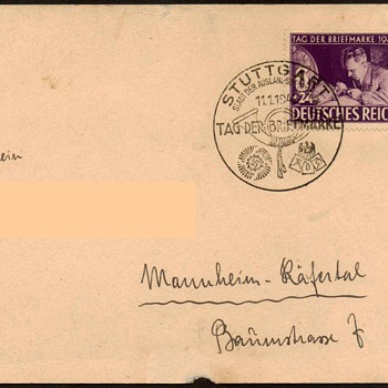 "1942 - German ""Stamp Day"" First Day Issue Postal Card  - Stamps"
