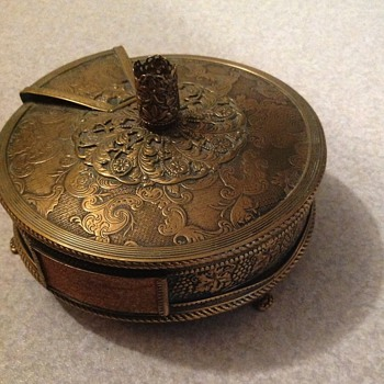 Antique brass revolving match dispenser/striker - Tobacciana