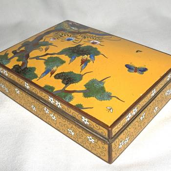 Ando Japanese Cloisonne Desk Box, mid 20th, Bright Fall Season Decor