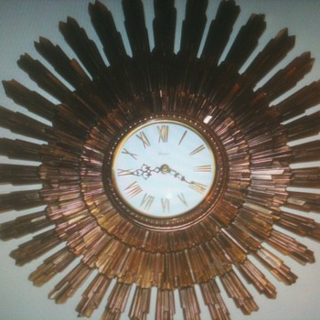 Mid-Century Sunburst Clock by Syroco - Clocks