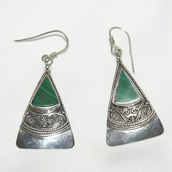 Vintage 925 and Malachite Dangle Earrings