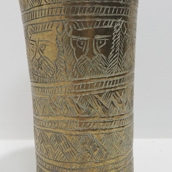 Brass Carved Vase or Glass