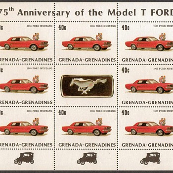 "1983 - Grenadines ""Ford Mustang"" Postage Stamps Sheet"