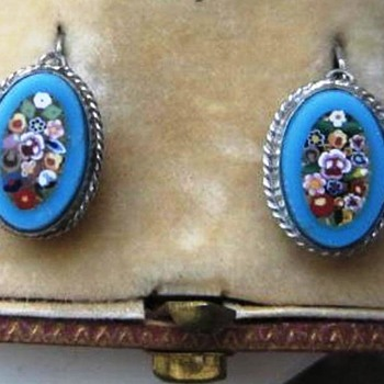 Micro Mosaic Millefiori flower earrings Set in Silver  - Fine Jewelry