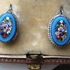 Micro Mosaic Millefiori flower earrings Set in Silver