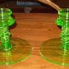 Green Depression Glass Candle Holders.
