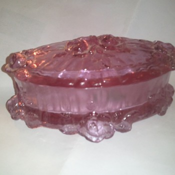 pink rose trinket box - Glassware