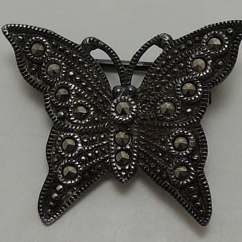 Art Deco Sterling Silver &amp; Marcasite Butterfly Brooch - Fine Jewelry