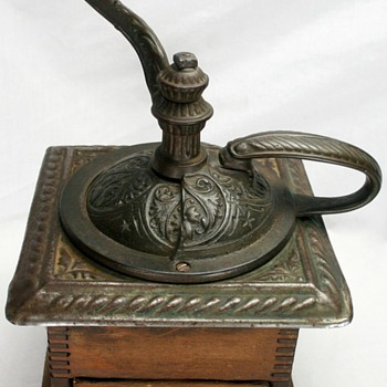 Primitive Ornate Cast Iron Hand Crank Wooden Coffee Bean Grinder Mill Rustic Original