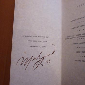 Muhammad Ali Autograph Menu 1979 - Paper