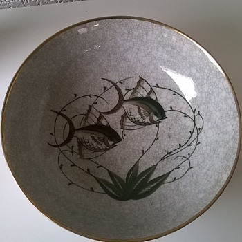Lyngby Porcelæn Craquelé Porcelain Bowl Made Between 1936 to 1945 - Flea Market Find!