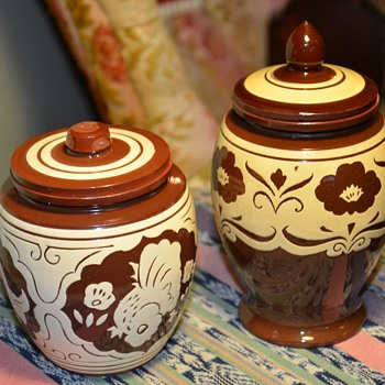 Two Hand-Thrown, Slip-decorated Brown Jars