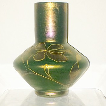 Loetz Russian Green Cabinet Vase, PN II-577, DEK Unknown, Ca 1900