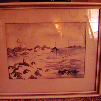 Watercolor dated 1944 and signed K. Nishi