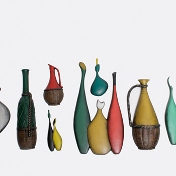 Mid-Century Ceramic Bottle Wall Art