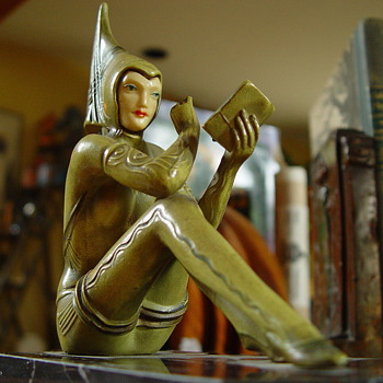 "Pixie Bookends, not Gerdago, ""Contemplar"" by Henri Fugere, C. 1927 - Art Deco"