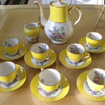 Theodore Haviland-Limoges Yellow demi tass set - China and Dinnerware