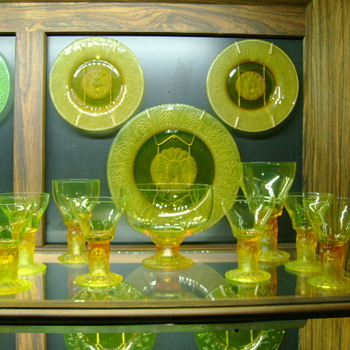 Pukeberg Vaseline Lion Head Goblets and Plates Patented by Jules Venon