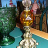 Amber Depression Glass Candlestick