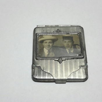 Pressed Tin Match Book Holder with picture of 2 Actors/ Entertainers?  - Tobacciana