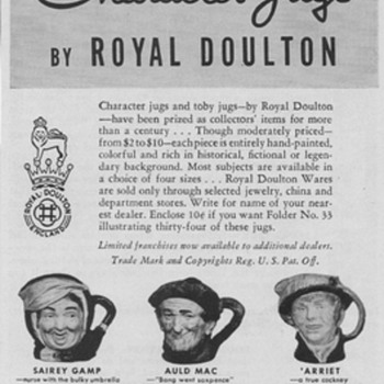 1950 Royal Doulton Toby Mugs - Advertising
