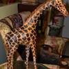 18 inch tall Giraffe made from Painted Stretched Leather with Glass Eyes.