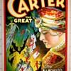 """Original 1926 Carter """"World's Weird Wonderful Wizard"""" Stone Lithograph Window Card"""