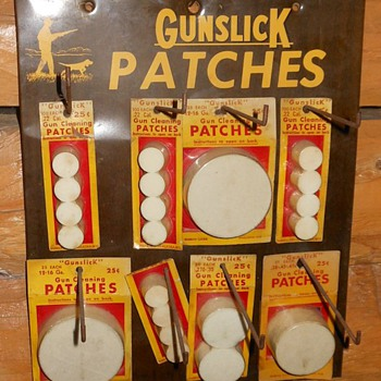 Vintage Gunslick Patches Store Display - Outdoor Sports