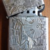 Vintage Sterling Silver Japanese Geisha Etched Lighter