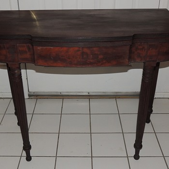 English or American Signed 19th Century Game/Card Table - B. Roland