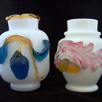 Stevens Williams Milk Glass Vases With Applied Designs - Glassware