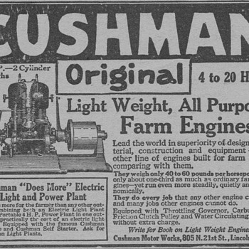 1919 Cushman Farm Engine Advertisement - Advertising
