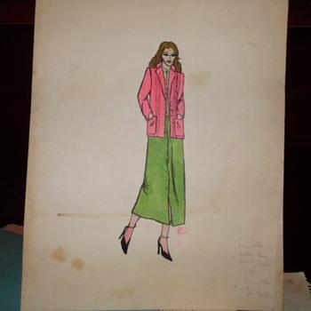 1960's-70's Sakowitz Store  Original Clothing Design Drawing - Visual Art