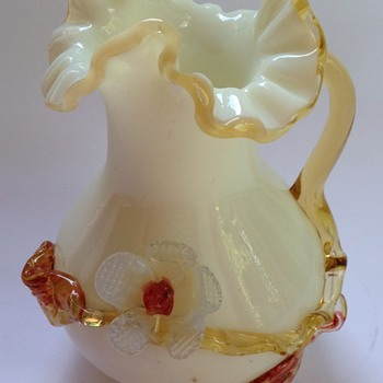 Victorian glass vase with applied flower