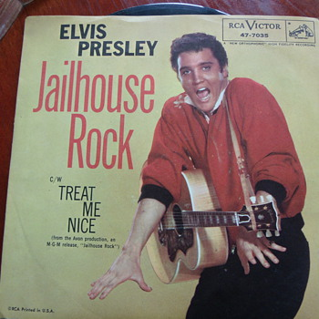 "1957 Elvis Presley ""Jailhouse Rock"" b/w ""Treat Me Nice"" 45rpm"