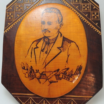Hutsul Style Carving &amp; Inlaid Souvenir Wall Plate - IVAN FRANKO