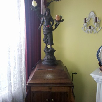 Antique lamp picked in Vermont...I love it, don't know much about her, or the artist. I did rewire it