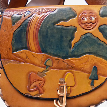 1960s Hand Tooled & Colored Hippie Shoulder Bag from Michigan - Bags