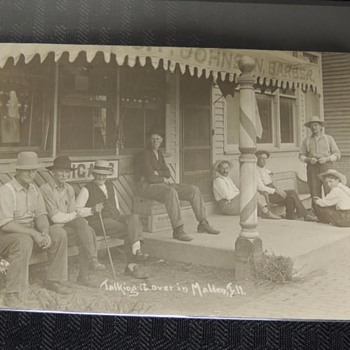 """SHAVE & A HAIRCUT- 2 BITS"" GENTS HANGIN' OUT AT THE BARBERSHOP, 1912, MALDEN,ILLINOIS"