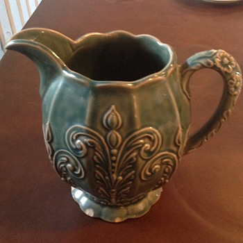 Green Majolica style pitcher